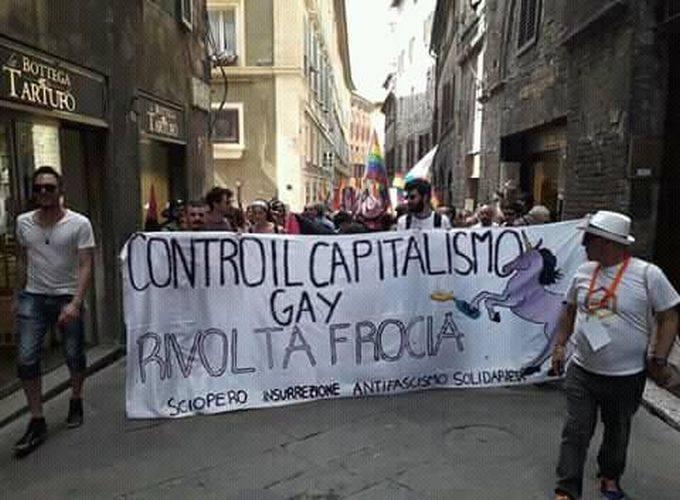 CONTRO IL CAPITALISMO GAY, RIVOLTA FROCIA! – Resoconto del gay pride di Siena